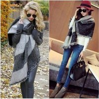 Wholesale Red Plaid Wool Blanket - 3 Colors Winter Fashion Women Oversized Check Blanket Scarf Female Imitation Cashmere Pashmina Wool Scarf Shawl Warm Thick Scarves Cape Wrap