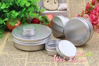 Wholesale Wholesale Cosmetic Empty Container - 50pcs lot Aluminium Balm Tins Pot Jar 5g 10g 15g 30g 50g 100g Empty Aluminium Cosmetic Pot Lip Balm Jar Tin Containers Screw Lid