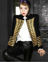 Wholesale Long Sleeve Shrug Xl - 2017 New design women's european fashion royal style shrug shoulder stand collar gold chain buttons decoration woolen coat jacket SMLXL