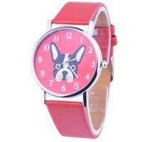 Wholesale Dog Round Watch - Wholesales 2016 Newly Design Dog Pug Watch Women Girl PU Leather Quartz Wrist Watches Dalmatian Pekingese Dial 100pcs lot 5Colors