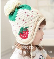 Wholesale Knitted Strawberry Girls Hat - New Arrival Lovely strawberry Children Baby Knitted Hats Winter crochet Hat with villi inner Kids Earflap Cap
