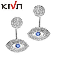Wholesale Ear Eye - KIVN Fashion Jewelry Tiny Pave Evil Eye CZ Cubic zirconia Ear Earring Jackets for Women Wedding Birthday Valentine Gift