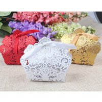 Wholesale Gold Favor Boxes Wholesale - 50pcs Laser Cut Hollow Candy Box for Wedding Gift Box Fill with Candy Sweet Chocolate Party Favor Ribbon Bags Red White Golden