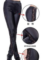 Wholesale Tight Leather Leggings For Women - 2014 NEW Fur leather with Lace Sexy Women leggings tight pants for Lady & Black