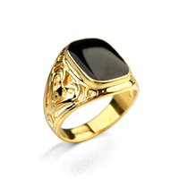 Wholesale Real Engagement Ring Men - Italina Rigant Brand Jewelry 18K Real Gold Plated Men Rings Free Shipping