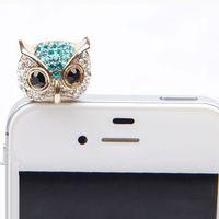Wholesale Dustproof Plug Owl - Wholesale-Hillsionly New Arrival 3.5mm Crystal Owl Pattern Cellphone Anti-Dust Dustproof Earphone Jack Stopper For Cell phone