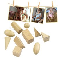 Wholesale Wood Shapes Geometric - Wholesale- 1Set Learning Resources Wood Geometric Solids Set Of 10 Smooth Solid Shapes