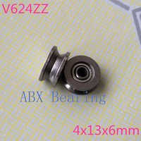 Wholesale Pulleys Machines - Wholesale- 20pcs V624ZZ 624V 624VV V624 624ZZ 624 V groove ball bearing 4x13x6mm embroidery machine pulley bearing 3D printer carbon steel