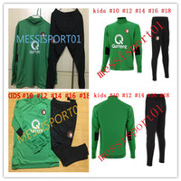 Wholesale Boys Green Suit - Soccer Jersey SPORTSWEAR 2017 2018 Feyenoord kids kit training suit Kuyt Lex VILHENA Simon maillot de foot 17 18 KIDS green tracksuit sets