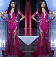 Wholesale Mermaids World - Miss World Pageant 2017 Evening Gowns Illusion Long Sleeves See Through Appliqued Sequins Lace Mermaid Party Dresses Prom Gowns Custom Made