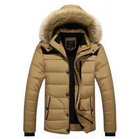 artı boyutu parkas toptan satış-2017 Erkekler Kış Ceketler Coats Siyah Aşağı Isınma Ceket Açık Kapşonlu Kürk Erkek Kalın Sahte Kürk İç Parkas Artı boyutu L-4XL