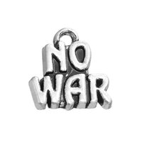 Wholesale Word War - Hot sale 50pcs a lot Zinc Alloy silver plated NO WAR word charm