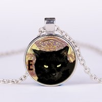 black diamond cat pendant - Alloy Vintage Hallowmas Glass Cabochon Black Cat Necklace Bronze Black Silver Chain Pendant Necklace Nice Jewelry Accessary