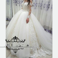 Wholesale long skirt dress photos resale online - Tulle Long Sleeves Over Skirts Wedding Dresses Sheer Off Shoulder Puffy Ball Bridal Gowns Exquisite Appliques Vestido De Noiva