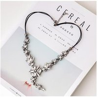 Wholesale Cheapest Retro Clothes - Cheapest Necklace Retro Korean Style Rhinestone Crystal Embellished Clothes Accessory Long Necklace White