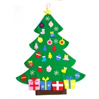Wholesale Wall Decorations Trees - NEW Hot sale Kids DIY Felt Christmas Tree Set with Ornaments Children Gift Toddler Door Wall Hanging Preschool Craft Christmas Decoration