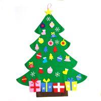 diy fıstıklı hissetti toptan satış-YENI Sıcak satış Çocuklar DIY Süsler ile Noel Ağacı Set Hissettim Çocuk Hediye Toddler Kapı Duvar Asılı Okul Öncesi Zanaat Noel Dekorasyon