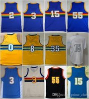 Wholesale 15 Yellow - Throwback Basketball Jerseys 3 Allen Iverson 15 Carmelo Anthony Gallinari Mudiay 2 Alex English 55 Mutombo Nikola Jokic Kenneth Faried