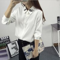 Wholesale Peter Pan Blouses - Fashion female elegant bow tie white blouses Chiffon peter pan collar casual shirt Ladies tops school blouse Women Plus Size
