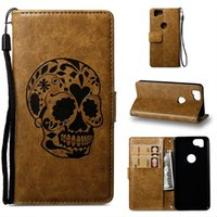Para Sony Xperia X1 XZ1 Compact MINI XA1 Plus LG Q8 MOTO X4 Retro Strap Skull Carteira Leather Pouch Case Card Stand Flip Phone Cover 10pcs