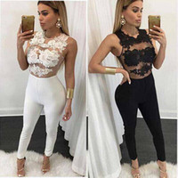 Wholesale Lace Rompers Xs - Wholesale- Black Apparel White Lace Up Summer Sexy Jumpsuit 2016 Spring Elastic Round Neck Fitness Bodycon Women's Jumpsuits Rompers Casual