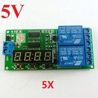temporizador programable al por mayor-5pcs DC 5V Digital Dual Programable Relay Control Cycle Delay Timer Interruptor de sincronización LED