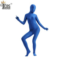 Wholesale Plus Size Full Body Catsuit - Wholesale-(5 pieces lot) Women Blue Zentai Unitard One Piece Spandex Nylon Lycra Full Body Custom Skin Tight Halloween Cosplay Costume