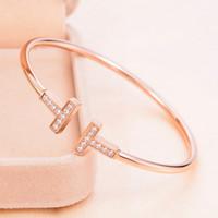 Wholesale Open Top Charms - Gold Plated Adjustable Top zircon Pulsera Metal Cuff Double T Shaped Diamond Bangle Bracelets Open Cross Charm Bracelet For Women Or girls