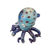 tubos de vidro azuis soprados venda por atacado-Polvo borbulhador de vidro tubos escorpião mão de vidro tubo mão soprado cachimbos cor azul para o tabaco