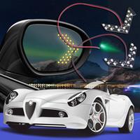 espejos indicadores al por mayor-Estilo del automóvil 14 SMD LED Flecha Paneles Luz Espejo lateral del lado Intermitente / Luz indicadora / Coche led / Estacionamiento