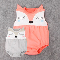 Wholesale Fox Onesie - girls rompers boys Jumpsuits Animal fox baby onesie infant summer outfits clothing cartoon summer kids cute clothes 564
