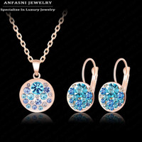Wholesale 14k gold jade earrings - ANFASNI New Arrival Hot Jewelry Sets Rose Golden Color Austrian Crystal Fashion Blue Round Necklace&Earring Jewelry Set ST0152-A
