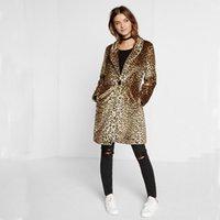 Wholesale Mink Fur Coat Xxl - 2017 winter faux fur coat warm Hairy Shaggy leopard mink trench coats Sexy luxury female Loose Long overcoat XXL