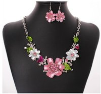 Wholesale resin flower bib necklace - Womens Flower Jewelry Sets Enamel Floral Choker Chunky Statement Pendant Bib Necklace Earring Jewelry Gift Set