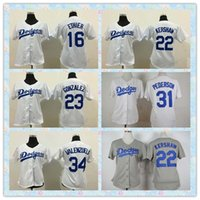 Veloce Donne Los Angeles Dodgers 2016 di baseball Jersey # 16 Andre Ethier # 22 Clayton Kershaw # 31 Joc Pederson Bianco Grigio signore maglie
