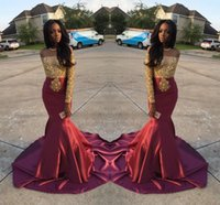 Wholesale Charming Dresses For Summer - Charming African Off the Shoulder Prom Dresses 2K17 Gold and Burgundy Prom Dresses for Black Girls Long Sleeves Evening Gowns Mermaid