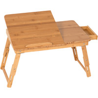 Wholesale wood table desk - 100% Bamboo Adjustable Laptop Desk Table Tilting Top Drawer Breakfast Bed Tray