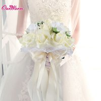 Wholesale Diamante Wedding Bouquets - Wholesale- Foam Rose Bouquet Artificial Flower Bride Bridesmaid Holding Flower with Lace Silk Ribbon Diamante Pearls for Wedding Decoration
