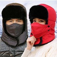 Wholesale Fur Ear Flap Hats - Wholesale-Warm Men Winter Hat Ear Flaps Ushanka Russian Sports Snow Outdoor Aviator Mask Women Bomber Hats With Neck Protection Bib
