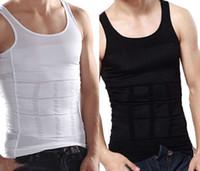 Wholesale Tummy Shaper Tank Top - Wholesale- Men's Body Shaper Vest Underwear Shirt Firm Tummy Belly Buster Control Slimming Tank Tops