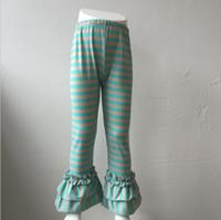 Wholesale Striped Pants Cheap - children double ruffle stripe pant girls fall winter warm slim candy color leggings kids fashion style pant cheap wholesale
