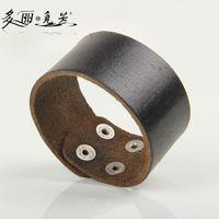 Wholesale Wholesale Plain Bangle Bracelets - Wholesale-Plain Leather Snap Button Bracelet Wide Leather Cuff Blank Leather Bangle Jewelry PSL287