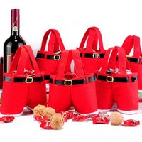 Wholesale Indoor Wedding Decor - Wine Bottle Bags Santa Claus Trousers Candy Bag For Christmas Decor Gift Wedding Party Articles Red 4 5ms C