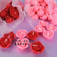 Wholesale Floating Wedding Flowers - Mini Red Pink Rose Candles Wedding Candle Festival Birthday Floating Candles Valentine's Day Decorations Height 2cm