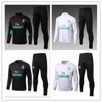 Wholesale Black Track Suits - 17 18 Real Madrid Soccer Tracksuit Jacket Suit Man City Track Suit Jogging Football Tops Coat Pants Adults Training Tracksuit Free Express