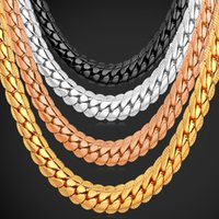 Wholesale 18k Rose Gold Filled - U7 Punk Chunky 6MM Snake Chain Necklace Bracelet Fashion Gold Platinum Rose Gold Black Gun Plated Perfect Men Jewelry Hiphop Accessories