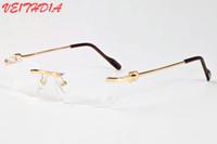 ingrosso occhiali unici-Lunettes 2018 Women Unique Hollow Alloy Occhiali da sole senza montatura per uomo Personalità Designer del marchio Oversize Occhiali da sole montatura per occhiali
