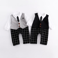 Wholesale Baby Boys Long Sleeve Vest - Gentle Baby clothing Romper with Necktie Vest Romper Fake two pieces England style 2017 Autumn Infant clothing