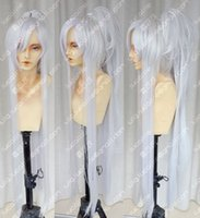 Compra Parrucca Cosplay D'argento-Brave10 Date Masamune New Long Silver White Cosplay parrucca + coda di cavallo