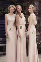 Wholesale Blanco Long - Apricot Long Chiffon Cheap Bridesmaid Dresses 3 Styles Nude Long Party Formal Dress vestido playa blanco